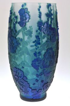 """Pilgrim Cameo Glass Vase, """"Behind the Hollyhocks"""": another beautiful piece of Art glass!"""
