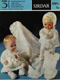 Baby Dolls Clothes Knitting Pattern Baby Dolls Layette Dolls Pram Set Shawl Baby Dolls Outfits Baby Dolls Sets 14 inch 16 inch Doll PDF by Minihobo on Etsy Baby Knitting Patterns, Baby Patterns, Free Knitting, Crochet Patterns, Knitting Ideas, Vintage Patterns, Crochet Ideas, Baby Doll Clothes, Doll Clothes Patterns