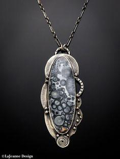 Orbicular Jasper sterling silver necklace