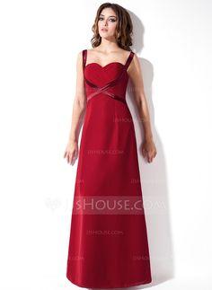 A-Line/Princess Sweetheart Floor-Length Chiffon Charmeuse Bridesmaid Dress With Ruffle (007001786) - JJsHouse