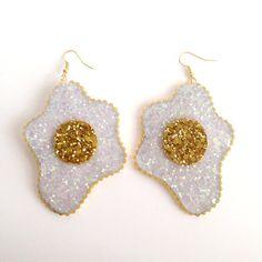 Glitter Fried Egg Earrings