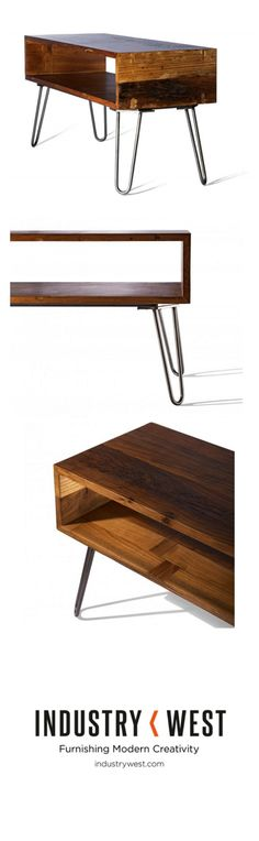 The Spoke Console's hairpin form is a staple that was popularized during the post-war modern furniture movement.