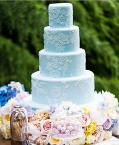 pretty powder blue wedding cake