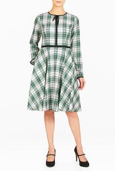 I <3 this Contrast piped trim check print crepe dress from eShakti