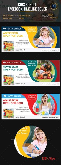 Kids School Facebook Timeline Cover — Photoshop PSD #school #facebook • Available here → https://graphicriver.net/item/kids-school-facebook-timeline-cover/10486770?ref=pxcr
