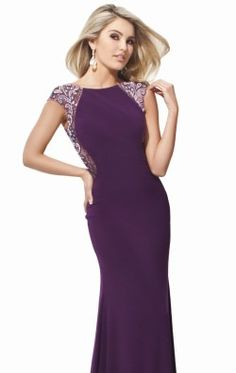 Beaded High Neckline Jersey Gown by Evenings by Mon Cheri TBE21415