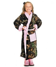 Girls Camo House Robe with Pink Trim-Ruby