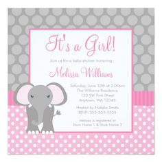 Pink Gray Elephant Polka Dot Girl Baby Shower Card