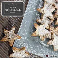 Keto Zimtsterne. Low Carb High Fat Rezept (LCHF). Diese leckeren Weihnachtsplätzchen sind das ideale süße Gebäck (ohne Zucker) für die ketogene Diät. Zuckerfrei.
