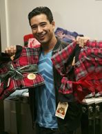 Mario Lopez selects the Red/Black Plaid101 for him and the Red/Black Plaid with Grey Hearts103 for her.  #bigfeetpjs #mariolopez