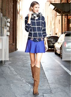 graphic top, fit and flare skirt in cobalt, mixed patterns, riding boots. Olivia Palermo Picks | Piperlime