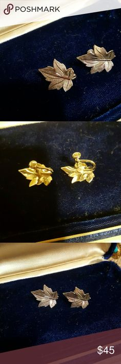 | vintage sterling leaf earrings | Vintage sterling silver leaf earrings. Marked by maker but I can not make it out. Screw back earrings. Vintage Jewelry Earrings