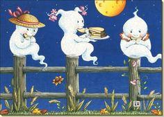 """Three little ghosties, sitting on posties, eating buttered toasties....""   Mary Engelbreit"