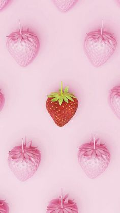 Outstanding red strawberry middle around pink strawberry on pink pastel background. Pretty Phone Backgrounds, Beautiful Wallpapers For Iphone, Hd Phone Wallpapers, Cute Wallpapers, Wallpaper Backgrounds, Cute Girl Wallpaper, More Wallpaper, Wallpaper Iphone Cute, Screen Wallpaper