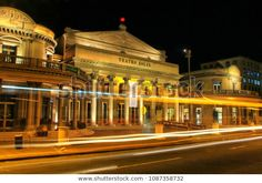 MONTEVIDEO, URUGUAY - DECEMBER 9: Solis Theater at night with traffic lights on December 9, 2014 in Montevideo old town, Uruguay. It was opened in 1856.