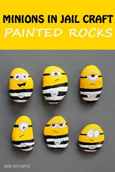 Minions in jail craft for kids. Painted minion rocks. Watch the movie Despicable Me 3 and then create a fun craft with your kids. | at Non-Toy Gifts