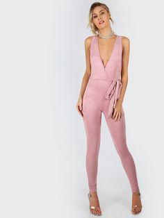 Shop Deep V Faux Suede Jumpsuit MAUVE online. SheIn offers Deep V Faux Suede Jumpsuit MAUVE & more to fit your fashionable needs.