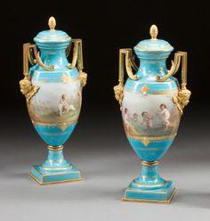 Ceramics  Porcelain, Continental:Antique  (Pre 1900), A PAIR OF SÈVRES-STYLE ENAMELED BLUE PORCELAIN AND GILT B... Image #1