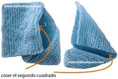 Zapatitos de bebe de dos cuadrados tejidos - Tejiendo Perú Baby Booties Free Pattern, Baby Shoes Pattern, Crochet Baby Shoes, Knit Crochet, Knitting Socks, Free Knitting, Summer Jacket, Baby Slippers, Baby Boy