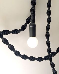 Modern Macrame Light by Windy Chien. Shop at http://www.windychien.com/shop/modern-macrame-light-black-1