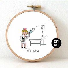 Easy Embroidery Kit Nurse. Gift for nurse. DIY nurse appreciation gift. Cross stitch kit including embroidery hoop. Design by Studio Koekoek. By directly from the designer.