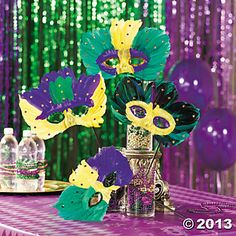 These fun masks will provide the finishing touch! Each on a plastic stick. Mardi Gras Centerpieces, Table Centerpieces, Feather Mask, Mardi Gras Party, 15th Birthday, Oriental Trading, Decoration Table, Party Themes, Party Ideas