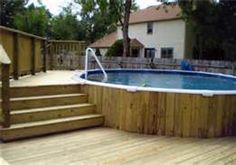 Above Ground Swimming Pool Ideas - Bing Images.  Winter remove pool and add benches to make it outdoor lounge area. Genius.