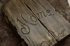 Triptic 'Home'- handmade with love by Gemini Atelier Bamboo Cutting Board, Gemini, Rustic, Home, Etchings, Atelier, Country Primitive, House, Ad Home
