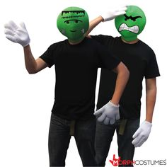 Couples Costume Inspiration: Guaranteed to make you an ICON at any event. The Emoticon Head Costume lets you channel your inner monster, zombie or smilie. Couples Fancy Dress, Mrs Incredible, Best Couples Costumes, Green Costumes, Scary Mask, Scary Clowns, Significant Other, Halloween Masks, Emoticon