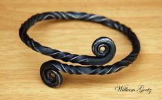 Hand Forged Twisted Iron Arm Ring by HuntersMoonLeather on Etsy, $35.00