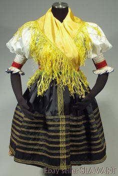 RARE Slovak Rusyn Folk Costume Sambron Slovakia kroj blouse skirt apron vest old