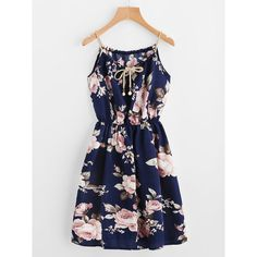 SheIn(sheinside) Braided Bead Strap Tie Front Flower Print Dress ($9) ❤ liked on Polyvore featuring dresses, slip dresses, a line knee length dress, long-sleeve floral dresses, navy blue knee length dress and floral knee length dress