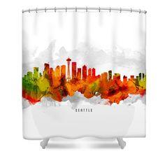 Seattle Washington Cityscape 15 Shower Curtain by Aged Pixel