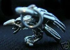 LOOK 3D New Gothic Crow Bird Pendant Raven Charm Real Sterling Silver .925 Jewel