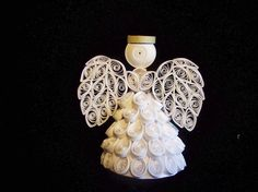 White Angel Ornament or topper in Quilling by joanscrafts on Etsy