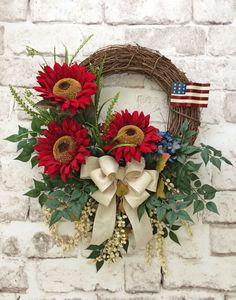 Patriotic Wreath, 4th of July Wreath, Fourth of July Wreath, Summer Wreath…                                                                                                                                                                                 More
