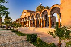 Saint Nectarios Orthodox Church in Faliraki, Greece, Rhodos Isla Kirchen, Greece Travel, Adventure Travel, Saints, Exterior, Mansions, House Styles, Islands, Europe
