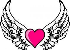 Christian Symbol Black Line Art For Kids Angel Wings Clip Art - Clip-art-of-heart