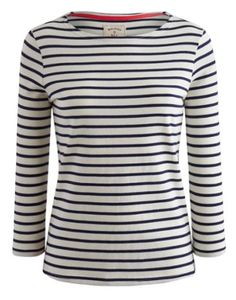 Joules Women's Striped Jersey Top, Creme Stripe. Our much-loved striped Harbour jersey top is back. With three quarter length sleeves and new colour ways it's no wonder it's one of your all-time favourites. A true wear it anywhere essential.