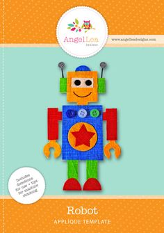 Robot Applique Template - Angel Lea Designs