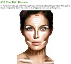 Makeup tricks to slim down a full face, square, round shape face.