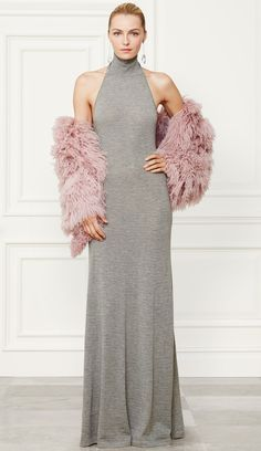 Gray Halter turtle-necked dress with pink shearling jacket. Ralph Lauren Fall 2014