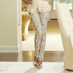 Antique Floral Print Pant from Midnight Velvet.   Jeans have never looked so dreamy.