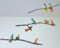 Bird Mobile  Blue / Orange / Yellow Fabric Birds  by SewnBuddies, $69.00