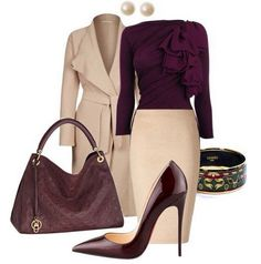 Beautiful outfit made of cream and aubergine (color pass numbers 13 and - Love this business Outfit! Business Attire, Business Outfits, Office Outfits, Mode Outfits, Business Fashion, Business Casual, Office Attire, Office Wear, Corporate Fashion