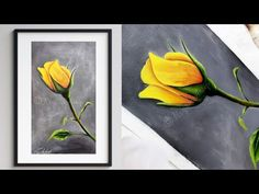 step by step acrylic painting on canvas for beginners YELLOW Rose Basic Painting, Simple Acrylic Paintings, Step By Step Painting, Beginner Painting, Painting Videos, Acrylic Art, Acrylic Painting Canvas, Rose Art, Yellow Roses