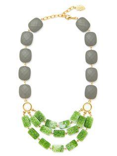 David Aubrey Gold, Resin, & Glass Multi-Row Necklace