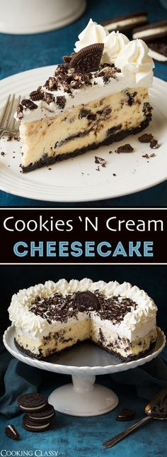 Cookies and Cream Cheesecake - such a dreamy cheesecake! Cookies and Cream Cheesecake – such a dreamy cheesecake! Perfectly rich and stud… Cookies and Cream Cheesecake – such a dreamy cheesecake! Perfectly rich and studded with plenty of Oreos. Just Desserts, Delicious Desserts, Dessert Recipes, Yummy Food, Cookie Recipes, Dinner Recipes, Cookies And Cream Cheesecake, Cheesecake Desserts, Cheesecake Factory Oreo Cheesecake