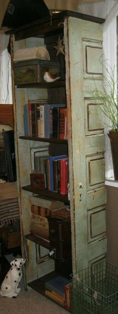 "BookShelf made from old doors is another of my most very Fave way of ""recycling old Doors"""