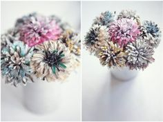 So today's DIY tutorial from wedding planner Andri Benson of Always Andri doesn't have to be restricted to just weddings (although how flipping adorable would these make as bouquets or centrepieces?!) I can totally imagine a big old bunch of these sat next to me on my desk.  So so pretty! And what a great use for all those pages and pages of magazine adverts? Let's save the trees people.